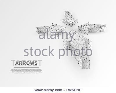 Le frecce che puntano al centro. Business di successo tecnologico concetto. Scienza poligonale illustrazione vettoriale. Stile Origami bassa poli. Collegamento wiref Foto Stock