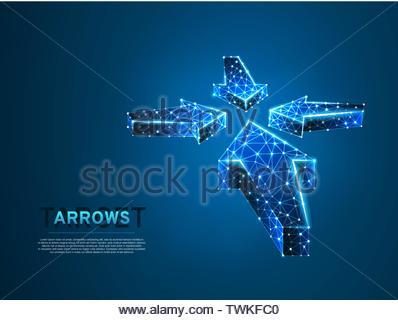 Le frecce che puntano al centro. Business di successo tecnologico concetto. Scienza poligonale illustrazione vettoriale. Il Neon a bassa poli. Connessione mesh wireframe Foto Stock