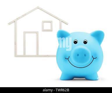 Salvadanaio con casa in legno forma isolata su sfondo bianco, green building e il risparmio di energia concetto Foto Stock