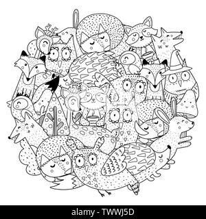 Fantasy animali della foresta di forma circolare nella pagina di colorazione. Stampa in bianco e nero. Illustrazione Vettoriale Foto Stock