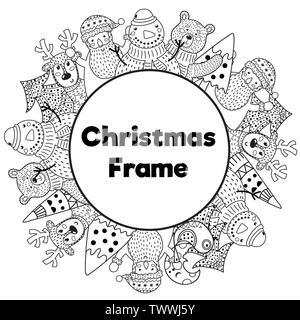 Bianco e nero telaio di Natale nella colorazione stile di pagina. Posto per il vostro testo. Pupazzo di neve, Santa, cervi, orsi e albero di Natale. Illustrazione Vettoriale Foto Stock