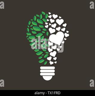 Il verde di foglie e cuori nel bulbo di luce di forma , eco concept , pensando simbolo , Giornata Mondiale dell Ambiente