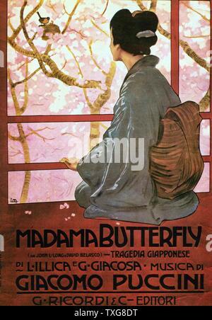 Poster per la Madama Butterfly (Madame Butterfly) un'opera lirica in tre atti di Giacomo Puccini, con un Italiano su libretto di Luigi Illica e Giuseppe Giacosa