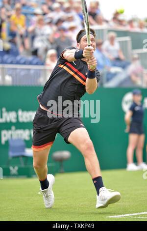 Cameron Norrie (GBR) a Eastbourne, Regno Unito. Il 25 giugno, 2019. Natura Valle internazionali di tennis in Devonshire Park.