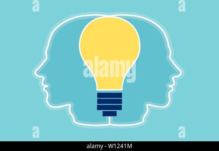 Vettore di due teste con silhouette luminose della lampadina della luce di collegamento all'interno di essi. Lavoro di squadra creativa concept Foto Stock