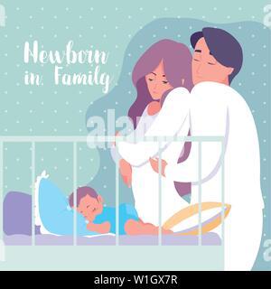 Il neonato in famiglia con i genitori e il bambino dorme nella culla illustrazione vettoriale design Foto Stock