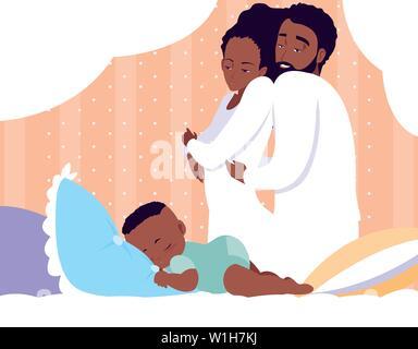 I genitori di afro con baby boy sleeping illustrazione vettoriale design Foto Stock