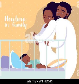 Il neonato in famiglia con i genitori afro e Bambino addormentato nel presepe illustrazione vettoriale design Foto Stock