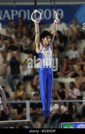Kazuma Kaya del Giappone durante il trentesimo Universiade estiva 2019 Napoli Uomini Anelli a Palavesuvio, Napoli, Italia il 7 luglio 2019. Credito: AFLO SPORT/Alamy Live News