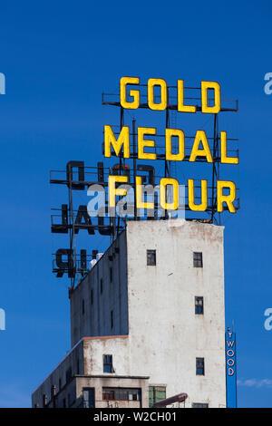 Stati Uniti d'America, Minnesota, Minneapolis, Mill City Museum, segno per metallo oro farina Foto Stock