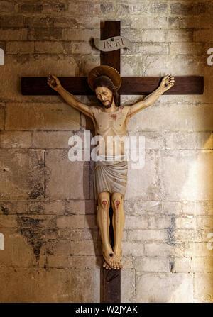 Italia Molise Matrice (Cb) - Chiesa di Santa Maria della Strada XI - XII secolo - Crocifisso in legno Foto Stock
