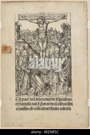 Crocifissione [dal Messale Eichstädt]. Höltzel, Hieronymus, fl. 1500-1525 (Stampante) Wolgemut, Michael, 1434-1519 (attribuito il nome). Maestro tedesco Foto Stock