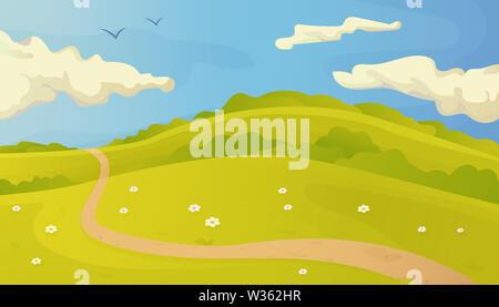 Luminosa estate paesaggio del vettore con il sentiero in erba e nuvole sul cielo blu, in appartamento in stile cartone animato