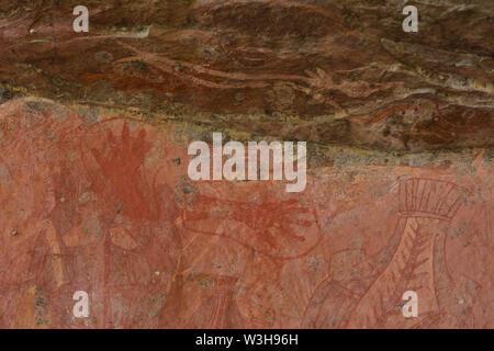 Aboriginal pitture rupestri a Ubirr Rock art site nel Parco Nazionale Kakadu Territorio Settentrionale dell'Australia