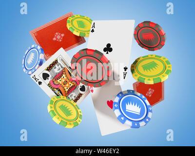 Un concetto moderno di giochi da casinò che rientrano fiches del casinò e ace 3D render isolato su blu Foto Stock