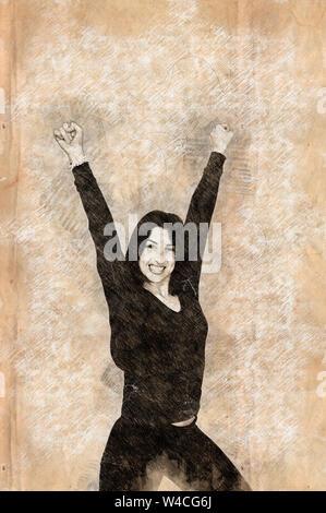 Migliorate digitalmente immagine di un successo. Sorridente giovane donna solleva il suo braccio su sfondo bianco Foto Stock