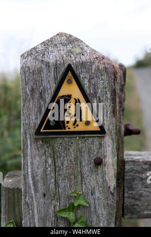 Simbolo triangolo di avvertimento nero e giallo su un post che consiglia del pericolo di erosione e precipizio cade