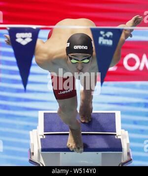 Daiya Seto del Giappone inizia in uomini del duecento metri medley individuale al campionato mondiale di nuoto a Gwangju, Corea del Sud, il 25 luglio 2019. Ha vinto il titolo a guadagnare un posto di ormeggio per le 2020 Olimpiadi di Tokyo. (Kyodo)==Kyodo Photo via Newscom
