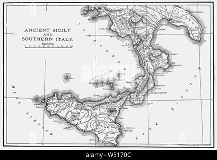 Cartina Sicilia Antica.Mappa Della Sicilia Italia Xix Secolo Incisione Foto Stock Alamy