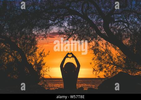 Immagine di Silhouette di una giovane donna che fa il cuore con le mani su una bella serata estiva vista posteriore di una ragazza di dita come cuore del tramonto sullo sfondo di un Foto Stock