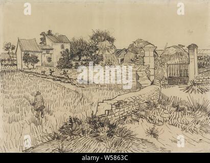 Fattoria in Provenza, costumi folk, costumi regionali, Provenza, Vincent van Gogh, c. Jun-1888, carta, matite, penne h 391 mm × W 533 mm Foto Stock