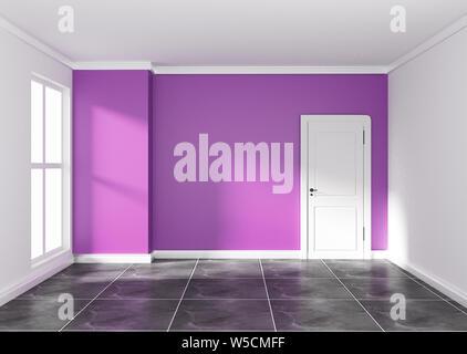 Stanza vuota con parete viola sul granito nero del pavimento. Il rendering 3D Foto Stock