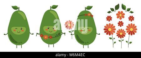 Illustrazione Vettoriale. Set di cartoon sorridente eroi di avocado con luminosi rossi fiori isolati su bianco. Positivo il carattere di frutta con ghirlanda di fiori Foto Stock