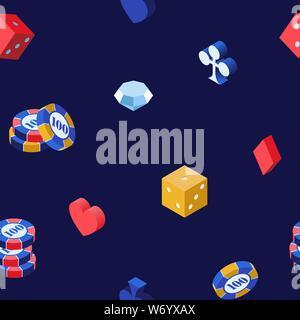 Casino giochi 3d vector seamless pattern. Poker chips isometrica dadi e diamante su sfondo blu. Cuori, picche, club e diamanti carte da gioco adatta a sfondo, la carta di avvolgimento design Foto Stock