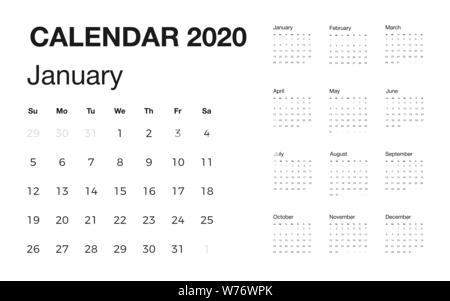 Calendario 2020 Con Le Settimane.Semplice 2020 Anno Calendario Settimane Inizio Domenica