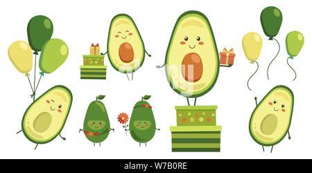Collezione diversificata di vettore carino sorridente eroi di avocado isolato su bianco. Set di caratteri di frutta con battenti giallo verde palloncini, doni in scatole Foto Stock