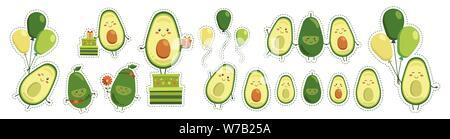 Grande di adesivi di vettore carino sorridente avocado eroi isolati su sfondo bianco. Raccolta di caratteri di frutta con battenti giallo verde palloncini Foto Stock