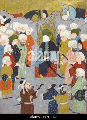 Imam Ali (Ali ibn Abi Talib) e il suo consiglio. Miniatura dal giardino dei piaceri da Fazuli.