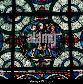 Il vetro macchiato raffigurazione dell'assassinio di Thomas a Becket, del XII secolo. Artista: sconosciuto