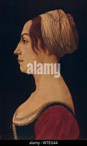 La donna in verde e rosso cremisi, XV secolo (1906). Artista: Piero del Pollaiolo Foto Stock