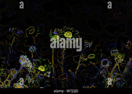 Colorato psichedelico astratto Neon fiori Jewel-Toned contro uno sfondo nero. Foto Stock