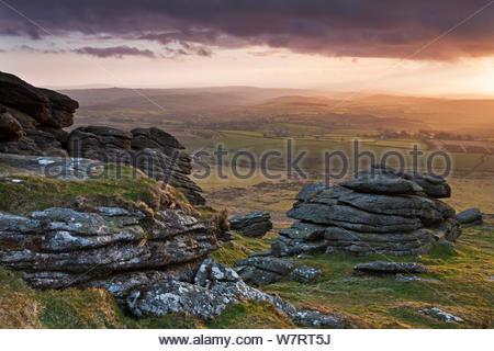 Sera luce solare su Devon campagna, visto da bracci Tor, Parco Nazionale di Dartmoor, Devon, Inghilterra. Aprile 2012. Foto Stock