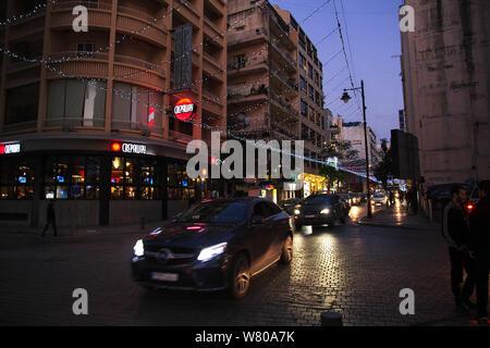 Beirut, Libano - 06 gen 2018. Notte alla città di Beirut, Libano Foto Stock