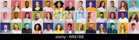 Collage di sorridente e felice popolazione multietnica Foto Stock