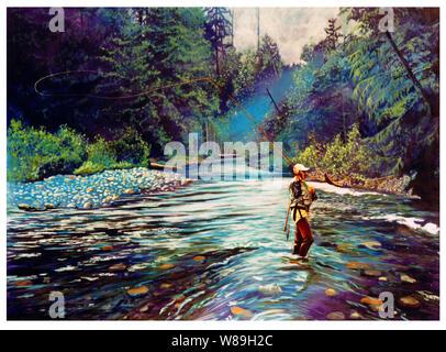 Uomo in waders di Pesca a Mosca Report di Pesca sulle rive di un fiume, la sua linea gettato dietro di lui. Alberi a sbalzo e foresta circonda il fiume che è chiaro e pieno di medie s Foto Stock