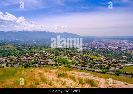 Vista di Salt Lake City da alfiere di punta, Utah, Stati Uniti d'America Foto Stock