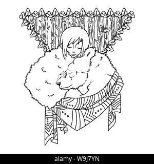 Illustrazione etnica, ragazza dorme e orso. Utilizzare per la stampa di poster, t-shirt design, carte. Illustrazione isolati su sfondo bianco. Illustrazione Foto Stock