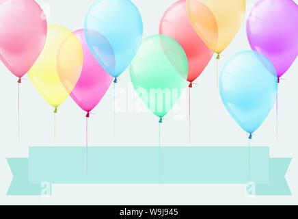 3D illustrazione molti palloncini pastello su sfondo grigio Foto Stock