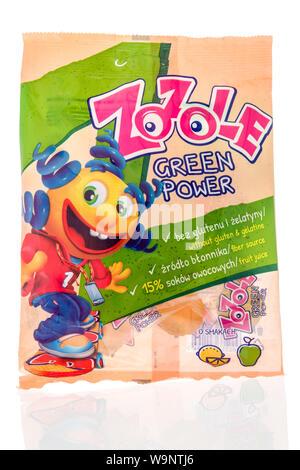 Winneconne, WI - 12 Agosto 2019 : un pacchetto di Zozole green power gelatine candy isolato su un background Foto Stock