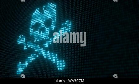 Codice binario con Teschio e Ossa Croce, rappresentando un virus o un attacco di software dannoso - 3D illustrazione
