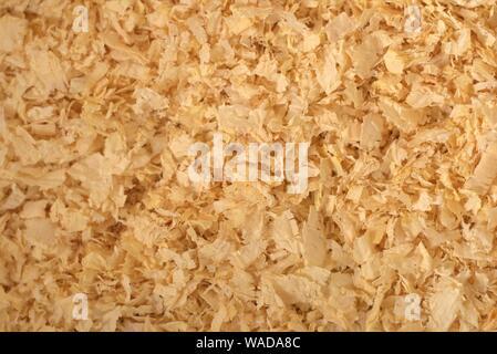 Pino di trucioli di legno, utilizzato come lettiera per animali e figliata. Dettaglio delle texture. Foto Stock