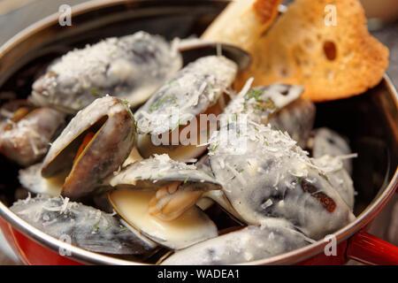 Cozze cotte con salsa cremosa e servita nella pentola di metallo, fondale focus Foto Stock