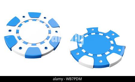 Blu e bianco Chip Casino isolato su uno sfondo bianco - 3D illustrazione Foto Stock