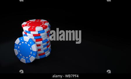 Red e Blue Chip Casino impostare isolati su sfondo nero - 3D illustrazione Foto Stock