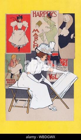 Un poster da 1897 mostra una donna che guardando le stampe in un negozio d'arte. Dal belga artista grafico Armand Rassenfosse, 1862-1934.