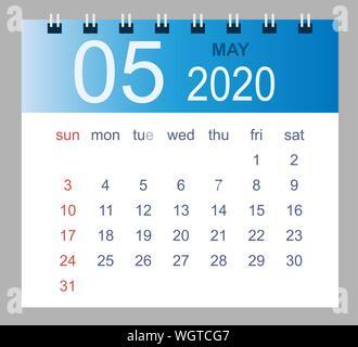 Calendario Maggio 2020.Mese Di Maggio In Un Anno 2020 Calendario Da Parete In